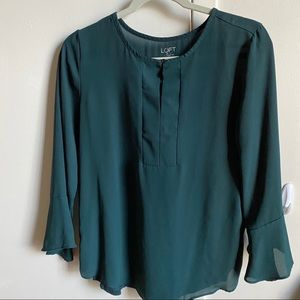 LOFT Forest Green Bell Sleeve Blouse Size Small